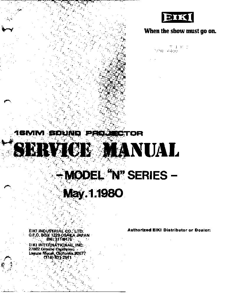 EIKI SL2 SERIES Service Manual download, schematics
